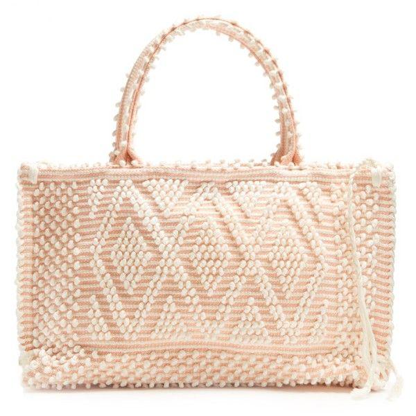 Antonello Tedde Capriccioli medium cotton tote ($570) ❤ liked on Polyvore featuring bags, handbags, tote bags, striped tote bag, beach tote, tote handbags, stripe tote and beach tote bags