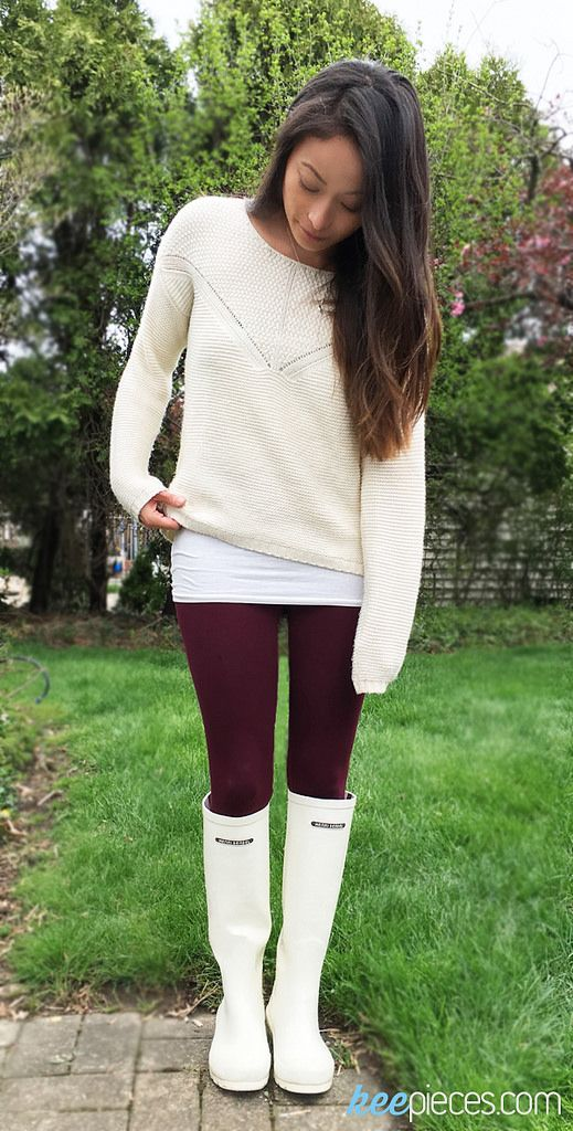 Henri Bendel High Top Cream Wellies [SIMILAR] | sz 6 • Arizona Maroon Leggings | sz S • Pink Rose Knit Sweater [SIMILAR] | sz XS, 40% off! • Forever 21 Scoop Neck Cami | sz XS  Today is the first d…