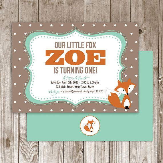 Little Fox Birthday Invitation by WildTreeBoutique on Etsy, $30.00