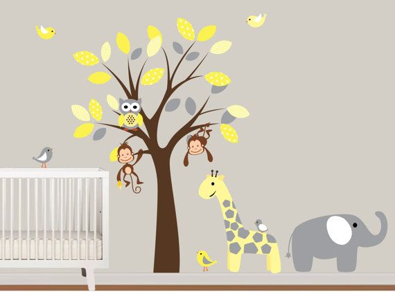 Baby Boys Vinyl Wall Decals Tree With Safari By NurseryWallArt, $99.99