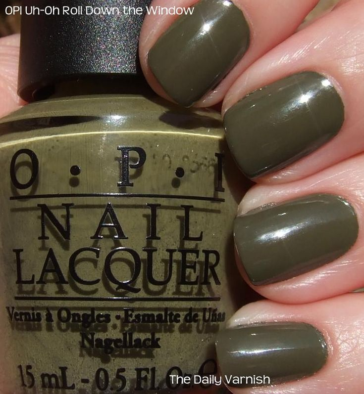 Favourite shade of olive OPIs Uh Oh Roll Down The Window  LookBook  Olive nails OPI Green