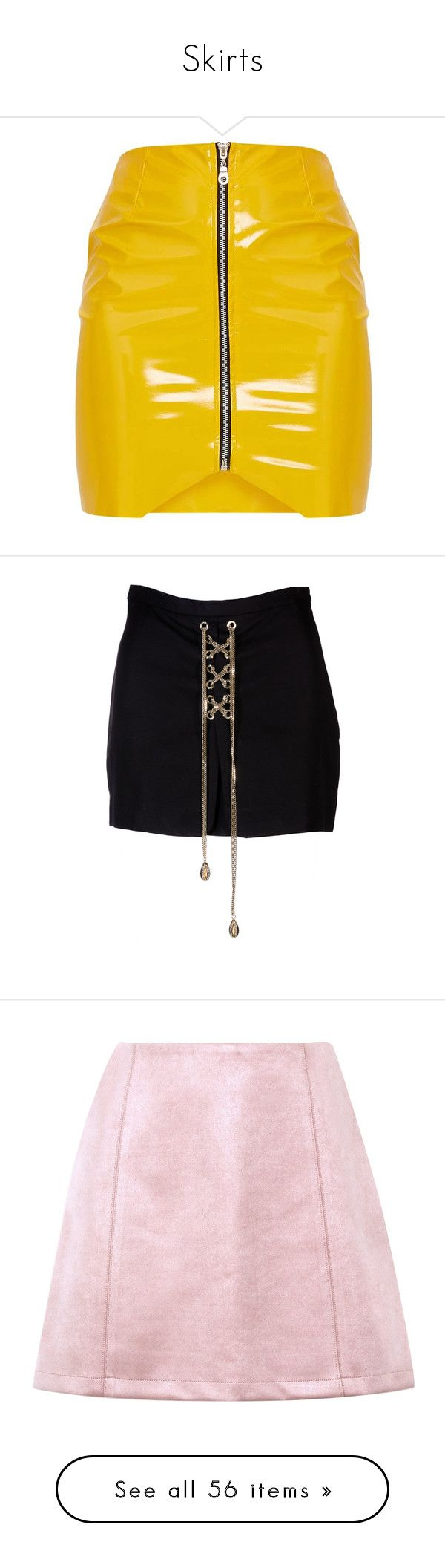 """""""Skirts"""" by fashionfreak4everr ❤ liked on Polyvore featuring skirts, mini skirts, front zipper skirt, vinyl mini skirt, vinyl skirt, short skirt, yellow skirt, bottoms, short mini skirts and dsquared2"""