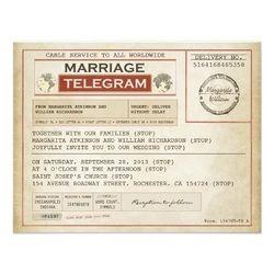 I love these vintage telegram look-a-like wedding invites!