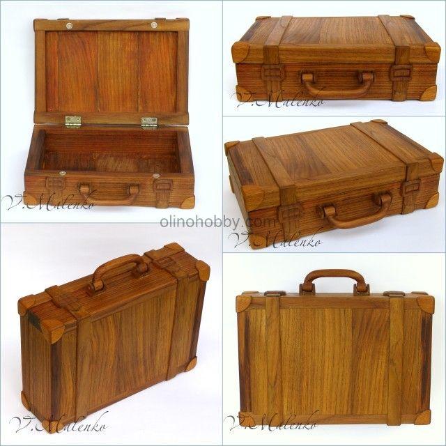 деревянная шкатулка в виде чемодана, авторские изделия из дерева, оригинальная шкатулка ручной работы