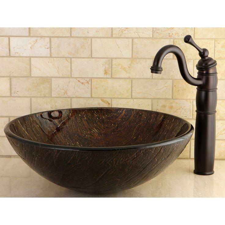 Dark Bronze Tempered Glass Vessel Bathroom Sink (Dark Bronze), Brown, Kingston Brass