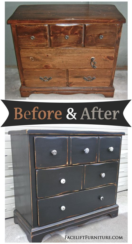 Distressed Black Dresser Before After