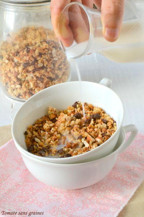Granola sans gluten {coco-chocolat-amandes} : http://tomatesansgraines.blogspot.fr/2015/09/granola-sans-gluten-coco-chocolat.html