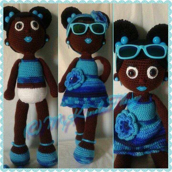 Crochet Doll African American Girl With Two Afro Puffs