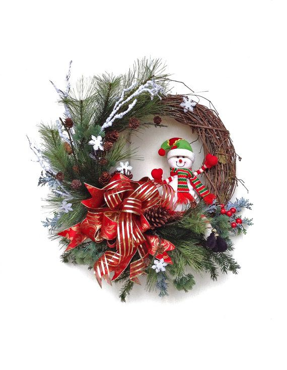 Christmas Wreath for Door, Snowman Wreath, Holiday Wreath,Winter Wreath,Snowflake,Outdoor Christmas Wreath,Front Door Decor,Grapevine,Red on Etsy, $143.50