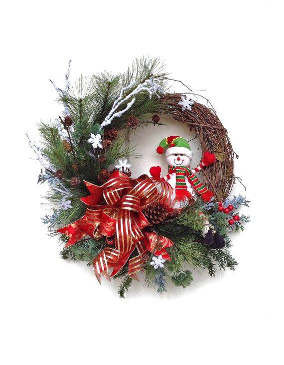 Christmas Wreath for Door, Snowman Wreath, Holiday Wreath,Winter Wreath,Snowflake,Outdoor Christmas Wreath,Front Door Decor,Grapevine,Red on Etsy, $143.50