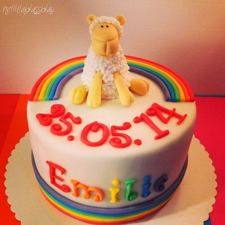 Regenbogen und lamm torte zur erstkommunion regenbogen for Pinterest kuchen