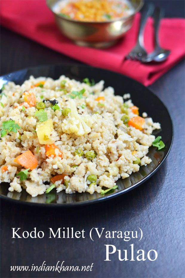 Vegan, gluten-free, healthy Kodo Millet (Varagu) Pulao makes great lunch, dinner for lunch box recipe and wonderful for diet too