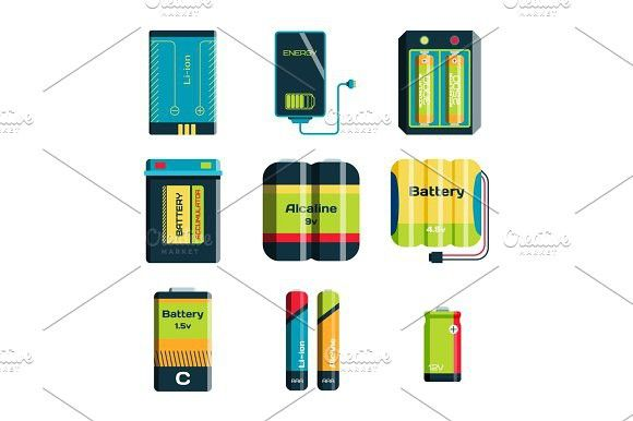 Battery energy tool electricity charge fuel positive supply and isposable generation component alkaline industry technology vector illustration.. Best…