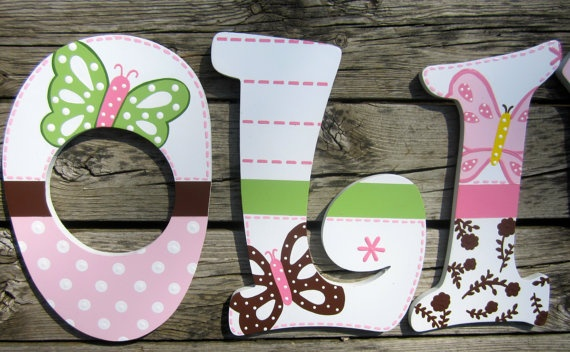 Custom Hand Painted Wooden Letters for Children's Nursery. $18.00, via Etsy.