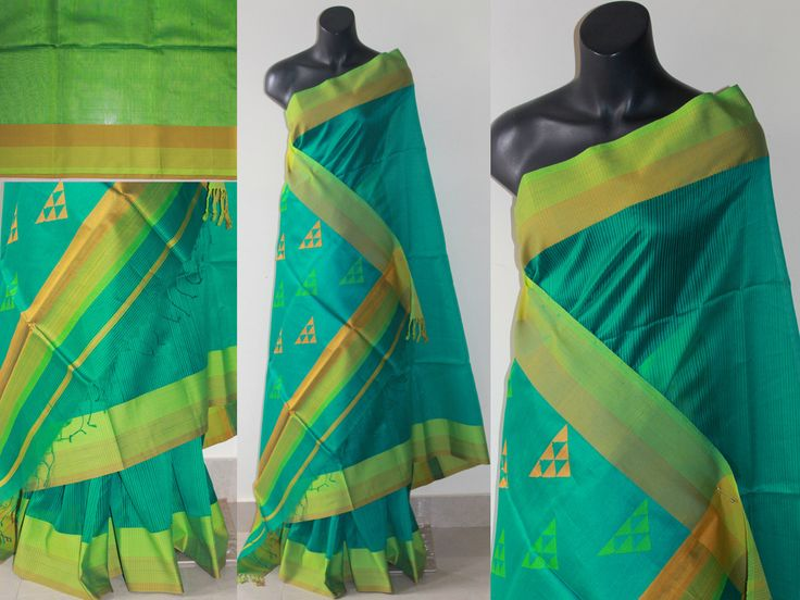 Rama+green+maheshwari+silk+saree