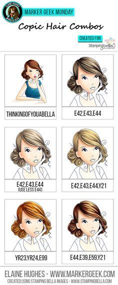 Stamping Bella - Marker Geek Monday Copic Hair Combos by Elaine Hughes