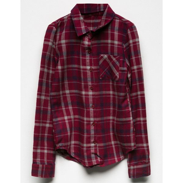 Full Tilt Plaid Girls Flannel Shirt (£15) ❤ liked on Polyvore featuring tops, purple long sleeve shirt, purple top, purple shirt, flannel shirt and long-sleeve shirt