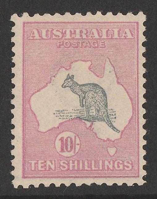 57f084d831f AUSTRALIA - KANGAROOS - FIRST WMK - 10/- Grey & pink. VF MLH ...