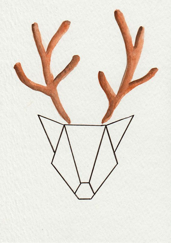 """Aquarelle """"Cerf"""" - Série Origami via 1.2.3 P'tits Choux. Click on the image to see more!"""