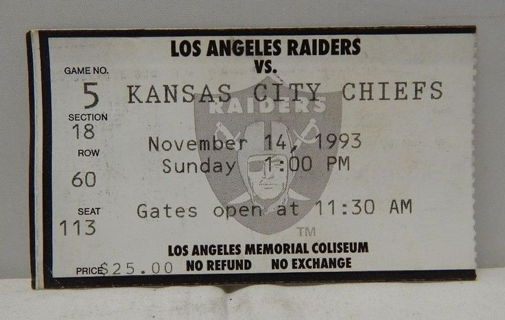 1993 Los Angeles Raiders Vs Kansas City Chiefs Ticket Stub November 14 1993  A from $4.99