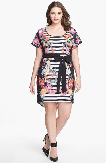 This dress is on sale for $39 so i scooped it up. City Chic 'Parisian Stripe' Print Crepe de Chine Tunic Dress (Plus Size) available at #Nordstrom