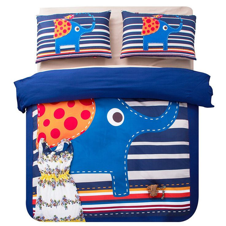 Animal Stick Figure Elephant and Striped Children Bedding Set Twin Queen King Size Duvet Cover Bedlinen Polyester Sanding Fabric