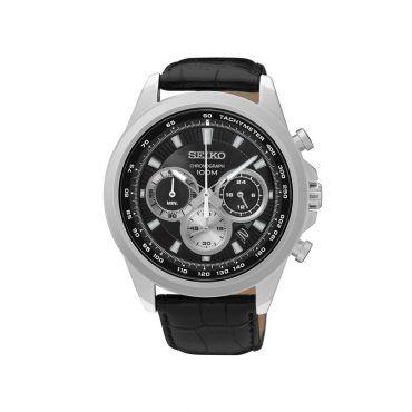 SSB249P1 Ανδρικό μοντέρνο ρολόι SEIKO με χρονογράφο, ημερομηνία, μαύρο καντράν, στεφάνη & μαύρο κροκό δέρμα   SEIKO ρολόγια ΤΣΑΛΔΑΡΗΣ στο Χαλάνδρι #Seiko #χρονογραφος #μαυρο #λουρι #ρολοι