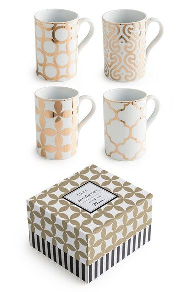 Free shipping and returns on Rosanna 'Luxe Moderne' Mugs (Set of 4) at Nordstrom.com. A striking gold design sets off the polished porcelain of a set of sophisticated mugs that captures the glamour of the Roaring Twenties and Swinging Sixties—sure to complement both modern and vintage dining décor.