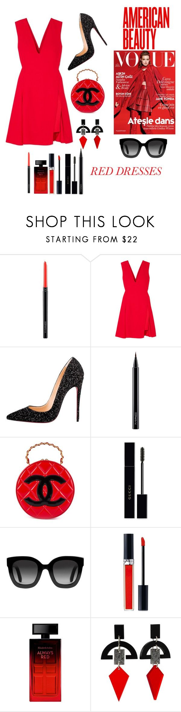 """""""Burning love"""" by vanility ❤ liked on Polyvore featuring MAC Cosmetics, Versace, Christian Louboutin, Chanel, Gucci, Christian Dior, Elizabeth Arden and Toolally"""