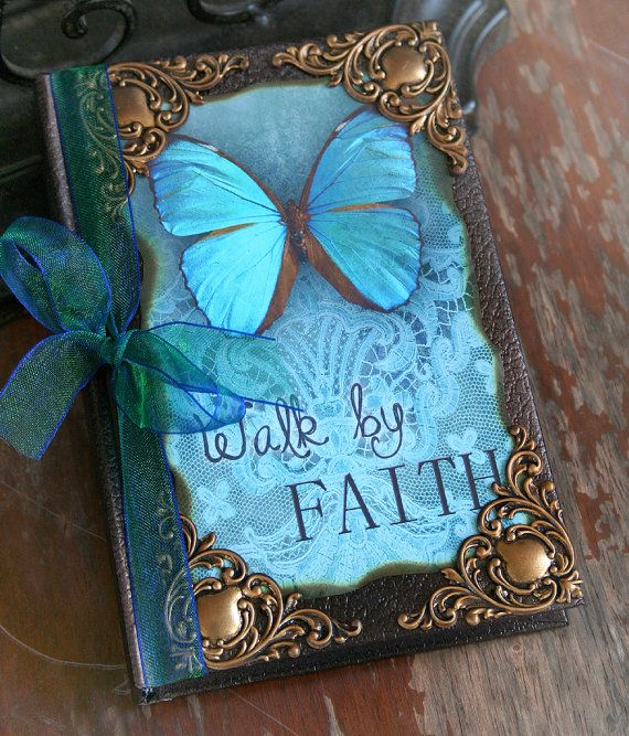 WALK BY FAITH altered collage Victorian mini journal, poetry book or sketchbook