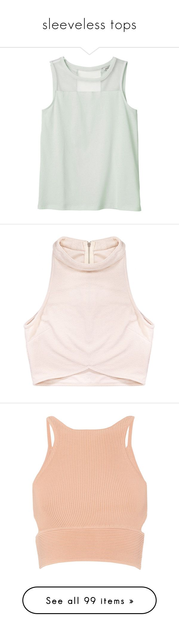 """""""sleeveless tops"""" by ladykrystal ❤ liked on Polyvore featuring tops, shirts, tank tops, tanks, sheer shirt, monki, sheer top, cream top, cotton tank y crop tops"""