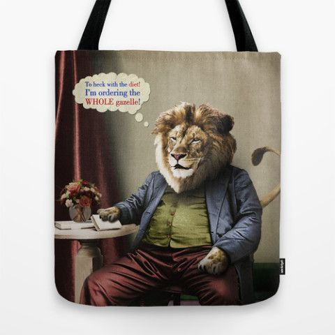 #society6 #totebag #carryall #books #fashion #accessory #lion #diets #cats #animals #food #vintage #surreal #antique #gazelle #petergross