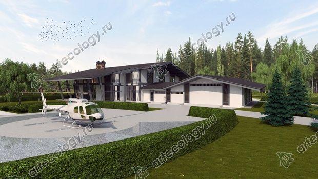 Дом со стороны гаража для вертолета