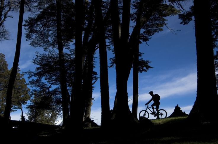 Biking in Traful, during the 14 day Chile-Argentina Lakes Disctrict Mountain bike trip.