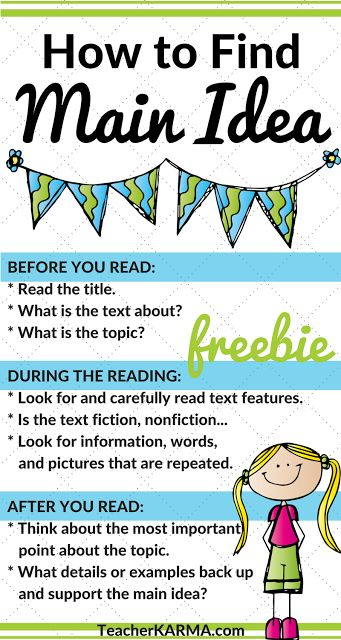 Main Idea FREEBIE - Save Your Sanity Hello! JenBradshaw here fromTeacherKARMA.com Having a tough time teaching your kiddos main idea?Save your sanity and grab this simple resource for teaching your studentsHow to Find the Main Idea. Best wishes! before during and after reading how to find main idea main idea main idea freebie main idea resource reading comprehension teacherkarma.com test prep