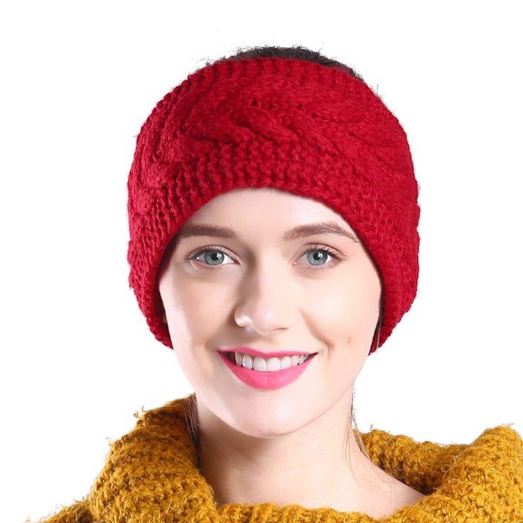 Hikon Fleece Lined Warm Cable Knit Winter Headband for Women Head wrap Ear Warmer in 2020   Crochet headband. Crochet headband pattern free. Hair ...