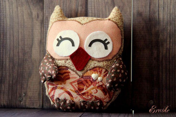 """Купить Сова """"Винки"""", текстильная игрушка - коричневый, игрушка ручной работы, игрушка, текстильная игрушка"""