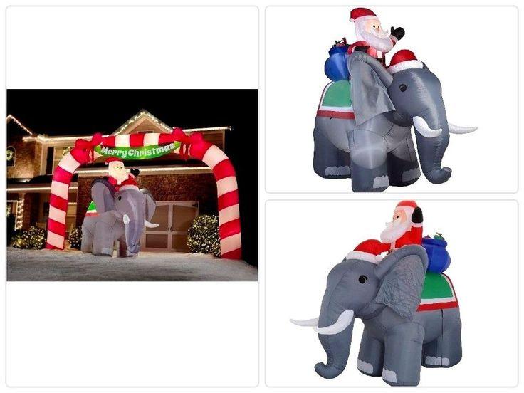 Large #Christmas #Yard #Decor Lighted Inflatable #Santa on Elephant Scene Home New