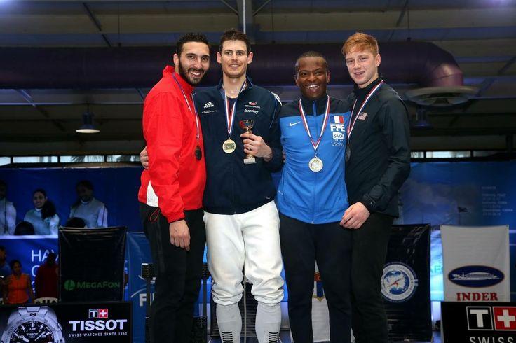 FIE GP La Havana 2016 podium: Gold Richard KRUSE (GBR), Silver Alaaeldin ABOUELKASSEM (EGY), Bronze Jean-Paul TONY HELESSEY (FRA) and Race IMBODEN (USA) (Photo: Serge TIMACHEFF)