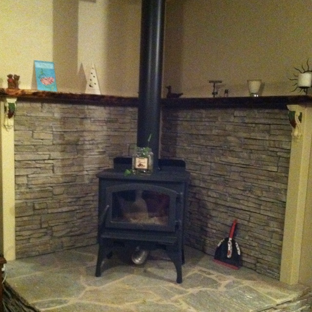 The Beautiful Hearth, Wood Burning Stove, And Mantel That My Husband Built  For Our