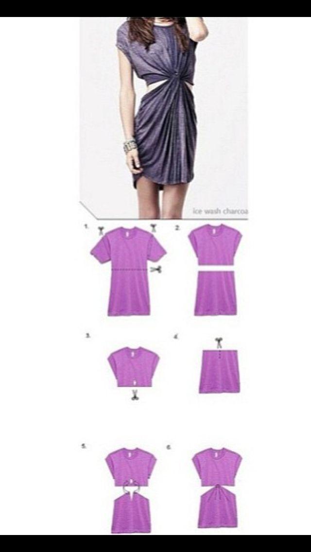 Turn oversized t shirt into a dress. | Fashion I'd Like to Re ...