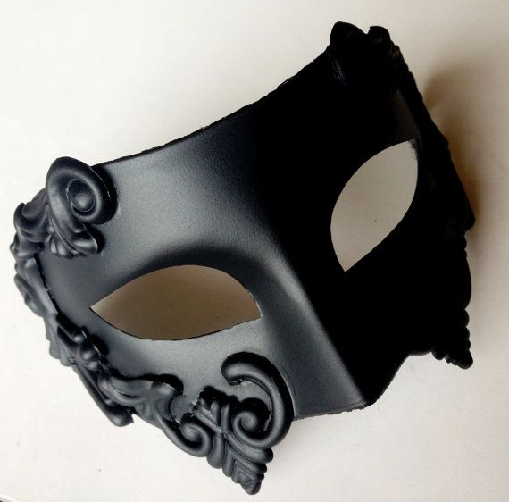 Black Mens Mask Gladiator Mask Greek God Mask by HigginsCreek