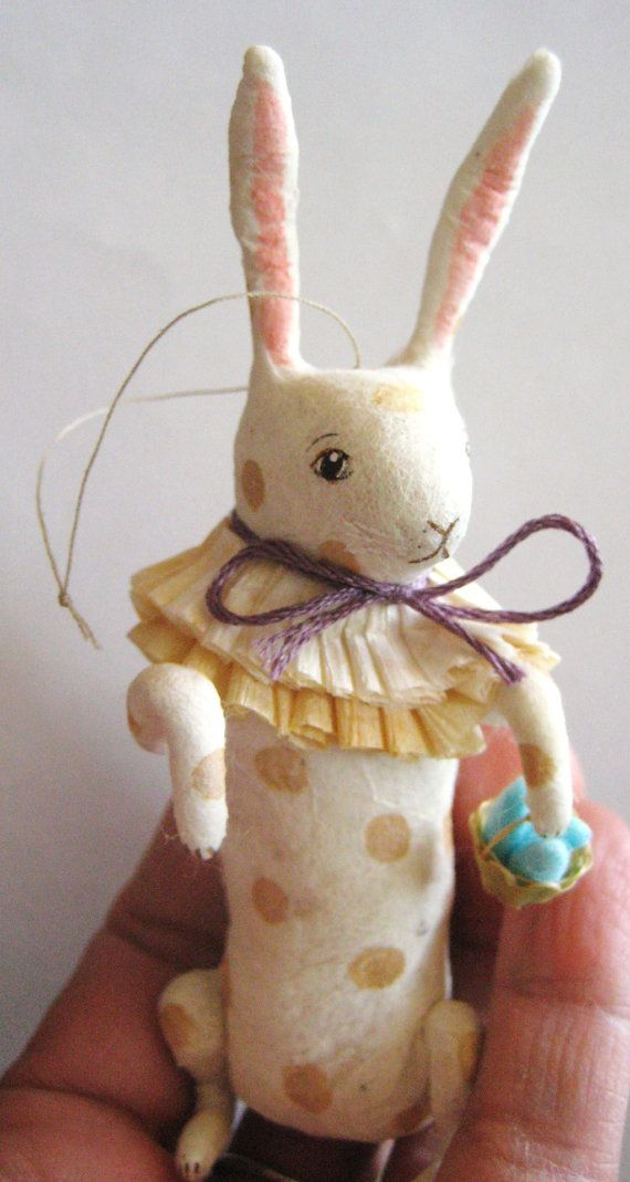 Spun Cotton White spotted Bunny Ornament by maria by MRCROWSGARDEN