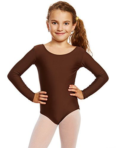 840e0a6bda57 Leveret Girls Leotard Basic Long Sleeve Ballet Dance Brown Leotard ...