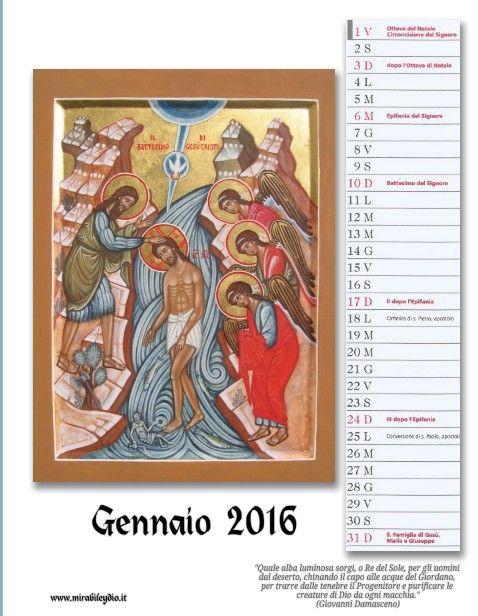 icone sacre-Mirabile Ydio: Calendario di Gennaio:l'icona del BATTESIMO DI N.S...