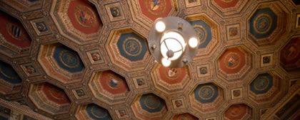 Dettaglio del soffitto nella Camera del Letto Valtellinese