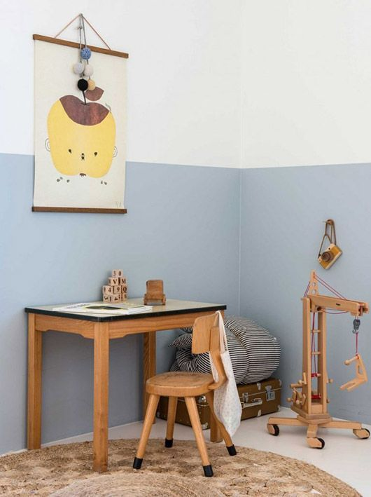 design diy'd. / sfgirlbybay // half painted grey and white wall in kids room