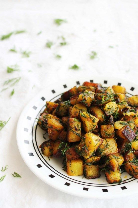 Aloo Suva Subzi Recipe - potatoes with dill leaves, with aded ginger, chilli and a delightful mix of spices.