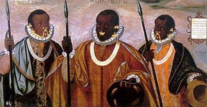 THIS IS THE FIRST SIGNED PORTRAIT FROM THE AMERICAS. IT IS A PAINTING OF THREE BLACK NOTABLES FROM ESMERALDAS, ECUADOR. IT IS DATED TO 1599, WAS DONE BY A NATIVE AMERICAN AND NOW HANGS IN THE MUSEUM OF THE AMERICAS IN MADRID, WHERE I HAVE SEEN AND PHOTOGRAPHED IT. THESE ARE NOT ENSLAVED AFRICAN! NOR ARE THEY THE DESCENDANTS OF ENSLAVED AFRICANS!!!!!!!!! -Runoko Rashidi