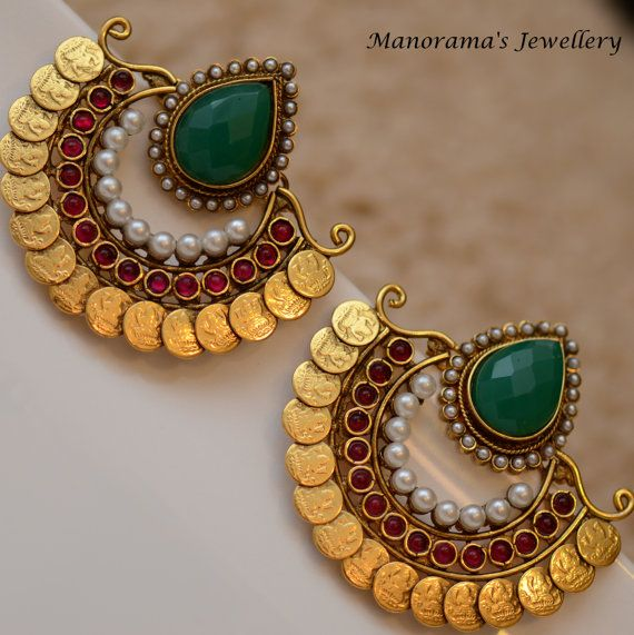 RamLeela Earrings Large Green Focal Stone by ManoramasJewellery